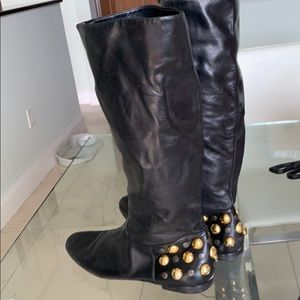 Gucci black leather black and gold studded boot